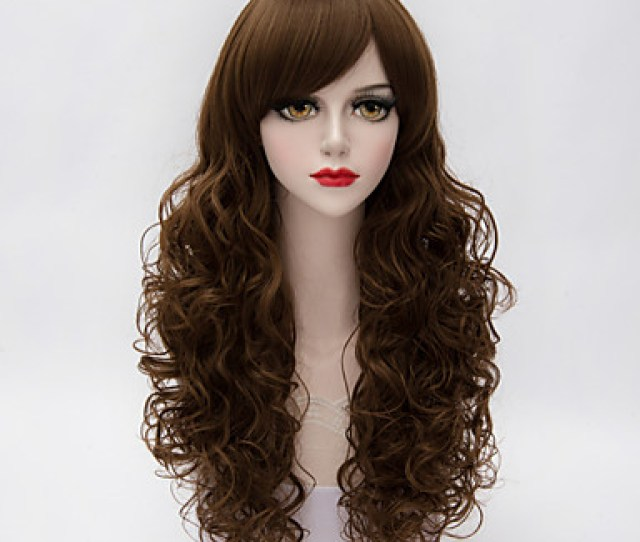 Elegant Mature Sexy Women Long Curly Hair Side Bang Mix Brown Synthetic Lolita Vogue Wig