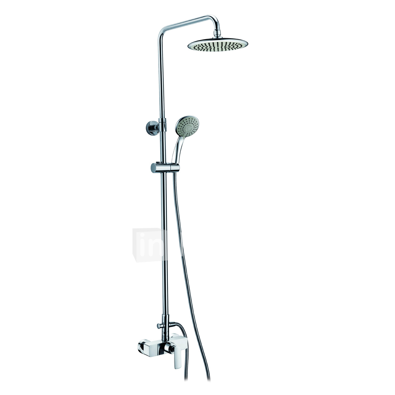 Contemporary Chrome Finish Single Handle Adjustable Height Shower Faucet