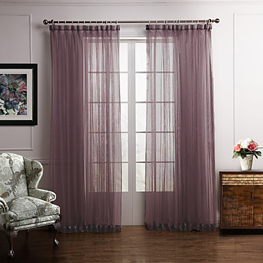 Rod Pocket Grommet Top Tab Top Double Pleat Two Panels Curtain Modern Bedroom Polyester Material