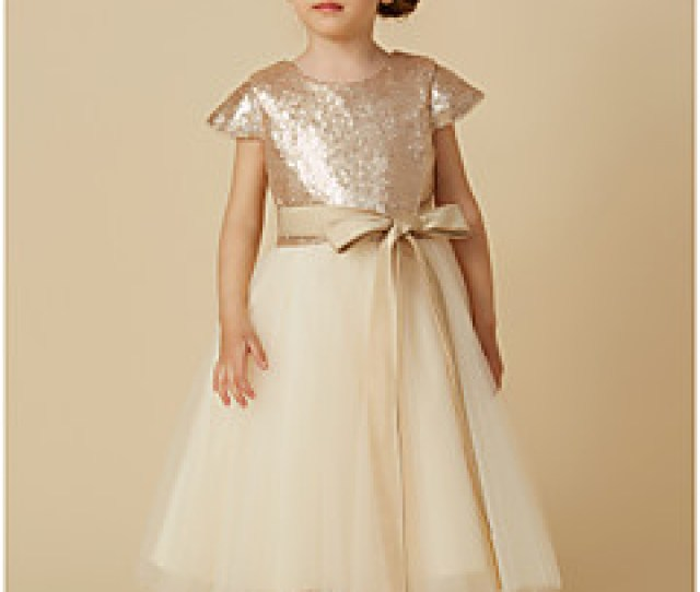 Princess Tea Length Flower Girl Dress Tulle Sequined Short Sleeve Jewel Neck With Bows By Lan Ting Bride