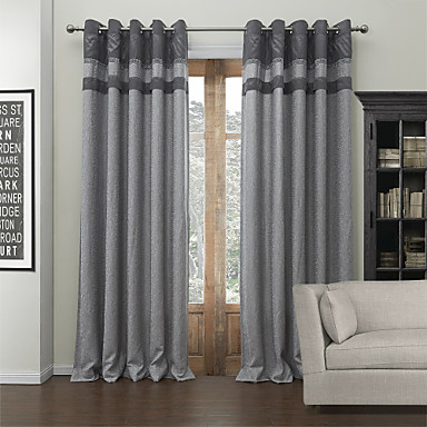 Rod Pocket Grommet Top Tab Top Double Pleat Two Panels Curtain Modern Jacquard Solid Living