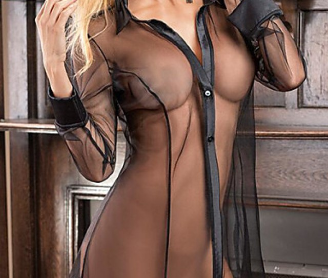Womens Super Sexy Chemises Gowns Nightwear Lace Transparent Solid Colored Black Purple L Xl Xxl Shirt Collar
