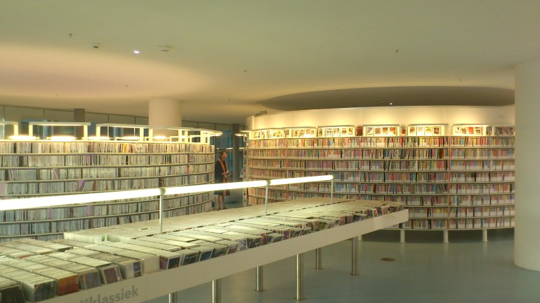 Inside the Public Library, Amsterdam. A huge audiovisual section.