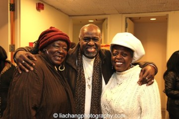 Ebony Jo-Ann, TEXAS IN PARIS director Akin Babatundé and star Lillias White at The York Theatre Company at Saint Peter's in New York on January 29, 2015. Photo by Lia Chang