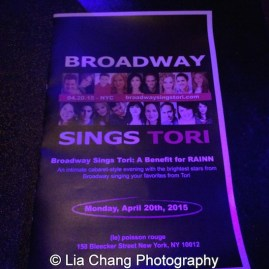 The Playbill for Broadway Sings Tori. Photo by Lia Chang