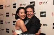 Actress Angela Zhou and Executive Producer and Showrunner John Wirth attend the AAIFF2015 screening of AMC's Hell on Wheels at Cinema Village East in New York on July 31, 2015. Photo by Lia Chang