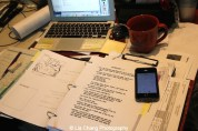 A page from the Seven Guitars' script. Photo by Lia Chang