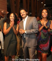 Crystal Dickinson with husband Brandon J. Dirden. and cast member Christina Acosta Robinson. Photo by Lia Chang