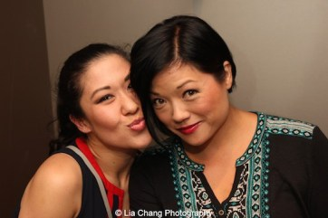 Erin Quill and Ruthie Ann Miles backstage at the Vivian Beaumont Theater after The Actors Fund Special Performance of The King and I on September 20, 2015. Photo by Lia Chang