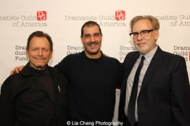 Michael Weller, Drew DeCorleto and Michael Korie attend the 2014-2015 DG Fellows Presentation at Playwrights Horizons in New York on October 19, 2015. Photo by Lia Chang