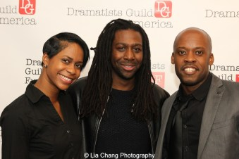Latresa Baker, 2014-2015 DG Fellow James A. Tyler and Reginald L. Barnes attend the 2014-2015 DG Fellows Presentation at Playwrights Horizons in New York on October 19, 2015. Photo by Lia Chang
