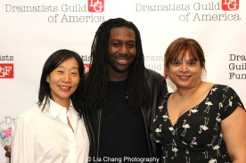 Dramatists Guild Fellows Chair Diana Son with 2014-2015 DG Fellows James A. Tyler and Naveen Bahar Choudhury at the 2014-2015 DG Fellows Presentation at Playwrights Horizons in New York on October 19, 2015. Photo by Lia Chang