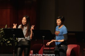 Greta Lee and Angel Desai perform at the 2014-2015 DG Fellows Presentation at Playwrights Horizons in New York on October 19, 2015. Photo by Lia Chang