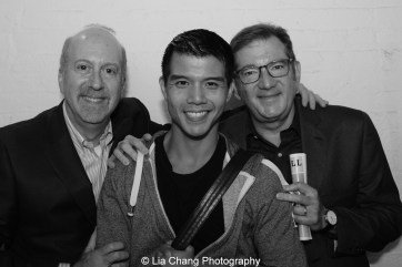 Matthew Woolf, Telly Leung and Steven Filenbaum backstage at the Longacre Theatre in New York after the first preview of ALLEGIANCE on October 6, 2015. Photo by Lia Chang