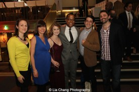 2015 Steinberg Award winner Branden Jacobs-Jenkins and his posse attend the 2015 Steinberg Playwright Awards on November 16, 2015 in New York City. Photo by Lia Chang