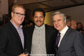 Brandon J. Dirden is flanked by Atlantic Theater Company's Jeffory Lawson and Neil Pepe attend the 2015 Steinberg Playwright Awards on November 16, 2015 in New York City. Photo by Lia Chang
