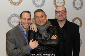 Michael Elyanow, Chay Yew and Jeremy Cohen attend the 2015 Steinberg Playwright Awards on November 16, 2015 in New York City. Photo by Lia Chang