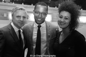 Atlantic Theater Company's Neil Pepe, 2015 Steinberg Playwright Award winner Branden Jacobs-Jenkins and Lileana Blain - Cruz attend the 2015 Steinberg Playwright Awards on November 16, 2015 in New York City. Photo by Lia Chang