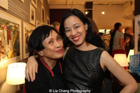 Pat Suzuki and Lia Chang at the opening reception of Tiger Morse by Mark Shaw: Jet Set Style Quest, 1962 at The Liz O'Brien Gallery in New York on November 3, 2015. Photo by Garth Kravits