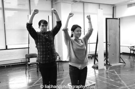Telly Leung and Jennifer Lim in rehearsal for The World of Extreme Happiness. Photo by Lia Chang