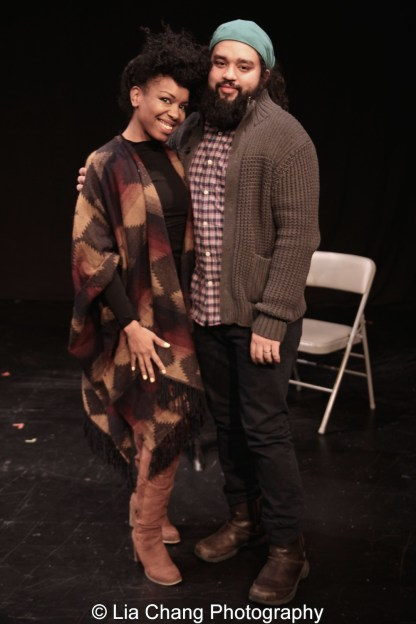 Jessica Frances Dukes and playwright Nathan Alan Davis. Photo by Lia Chang