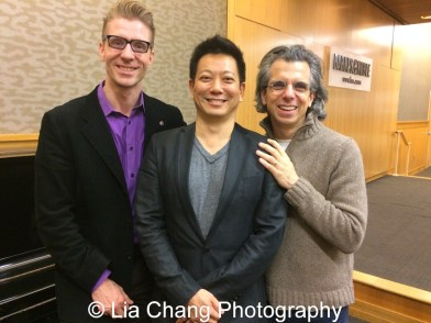 Lorenzo Thione, Jay Kuo and Marc Acito celebrate the release of the ALLEGIANCE Original Cast recording at the Barnes and Noble CD Signing event in New York on Feb. 5, 2016. Photo by Lia Chang
