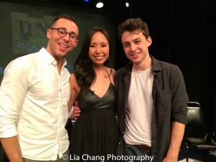 Emily Borromeo with the songwriting team of Benjamin Halstead and Nikko Benson. Photo by Lia Chang
