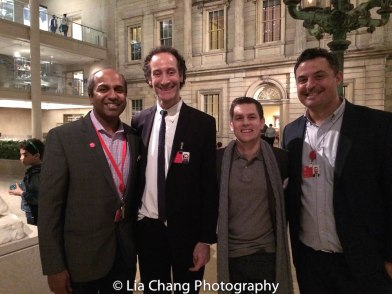 Chief Digital Officer Sree Sreenivasan, Exhibition Design Manager Daniel Kershaw, Christopher P. Gorman, Assistant for Administration, Audience Development, MMA, and Medialab Manager Marco Antonio Castro Cosio in The Charles Engelhard Court at Metropolitan Museum of Art in New York on March 4, 2016. Photo by Lia Chang