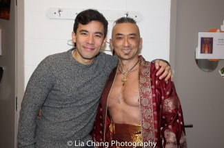 Cast mates Conrad Ricamora and Paul Nakauchi pre-show backstage at the Vivian Beaumont Theater in New York on Mar. 5, 2016. Photo by Lia Chang