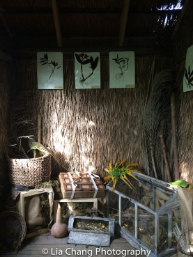 A Victorian Orchid Hunter's Grass Hut filled with tools of the explorer. The Orchid Show: Orchidelirium. Photo by Lia Chang