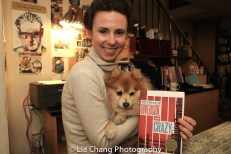 "Abigail Hardin and Chester with his pick of the week, ""Between Riverside and Crazy,"" at the Drama Book Shop in New York on April 5, 2016. Photo by Lia Chang"