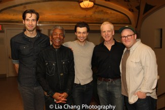 John Behlmann, André De Shields, Bryce Pinkham, John Hickok and Jacob Keith Watson. Photo by Lia Chang