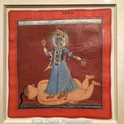 """""""The Devi, in the Form of Bhadrakali, Standing on the Corpse of a Giant Brahmin,"""" Illustrated folio from a dispersed """"Tantric Devi"""" series; Attributed to the Master of the Early Rasamanjari, ca. 1660-70; Opaque watercolor, gold, silver and beetlewing cases on paper. Photo by Lia Chang"""