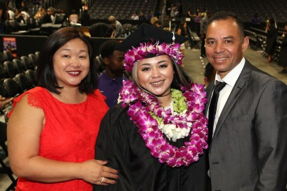 Asia Flores with her parents, Marissa Chang-Flores and Carlos Flores.