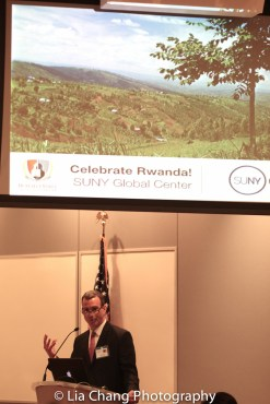"""Drew Kahn, Professor of Theater at Buffalo State College and Founder of The Anne Frank Project speaks at the """"Celebrate Rwanda"""" event at The SUNY Global Center in New York on June 29, 2016. Photo by Lia Chang"""