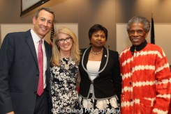 """Drew Kahn, Professor of Theater at Buffalo State College and Founder of The Anne Frank Project, Sally Crimmins Villela, SUNY Assistant Vice Chancellor for Global Affairs; Mathilde Mukantabana, Ambassador of the Republic of Rwanda to the United States of America; André De Shields at the """"Celebrate Rwanda"""" event at The SUNY Global Center in New York on June 29, 2016. Photo by Lia Chang"""