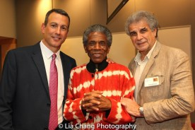 """Drew Kahn, Professor of Theater at Buffalo State College and Founder of The Anne Frank Project, André De Shields and Jim Mirrione at the """"Celebrate Rwanda"""" event at The SUNY Global Center in New York on June 29, 2016. Photo by Lia Chang"""