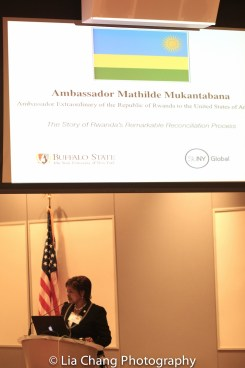 """Mathilde Mukantabana, Ambassador of the Republic of Rwanda to the United States of America, speaks at the """"Celebrate Rwanda"""" event at The SUNY Global Center in New York on June 29, 2016. Photo by Lia Chang"""