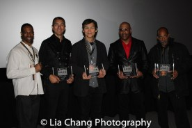 """Demetrius Angelo with Urban Fists of Legends Legacy Award Honorees Vincent Lyn, Don """"The Dragon"""" Wilson, Robert Samuels and Michael Woods at the Urban Action Showcase Diversity in Action Celebration at the AMC Empire 25 Times Square in New York on November 12, 2016. Photo by Lia Chang"""