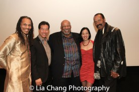 """Oso Tayri Casel, Peter Kwong, SAG-Aftra New York local President Mike Hodge, Lia Chang and Fred """"The Hammer"""" Williamson at the Cinemax® VIP Welcome Red Carpet Reception and UAS IAFF Awards at HBO in New York on November 11, 2016."""