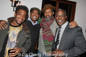 A guest, Billy Eugene Jones, Dion Graham and Danny Johnson at the opening night celebration at Atelier Florian. Photo by Lia Chang