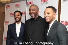 André Holland with producers Mike Jackson and John Legend. Photo by Lia Chang