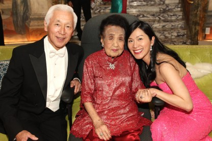 Mrs. Koo celebrates her 111th birthday with her son-in-law Oscar L. Tang and his wife Agnes Hsu-Tang at The Pierre in New York on October 2, 2016. Photo by Lia Chang