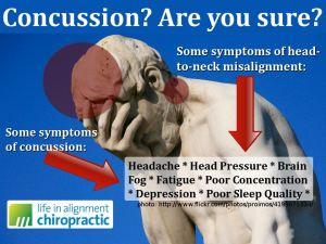Concussion versus whiplash or neck alignment