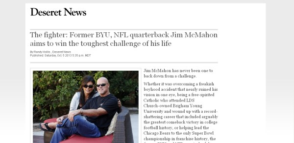 Jim McMahon's recovery from football related concussion injuries as featured in Deseret news.