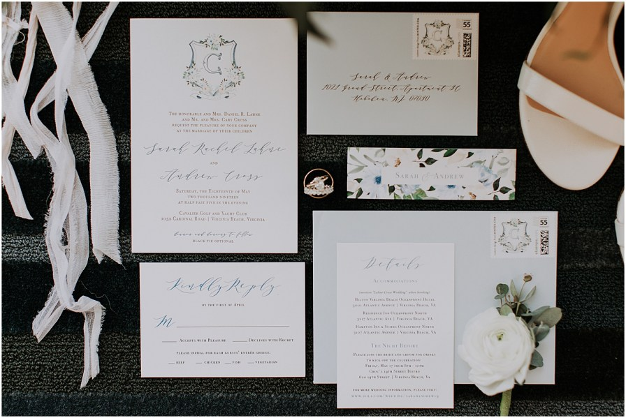 Cavalier Golf & Yacht Club Wedding Invitation Suite by Paperdoll Designs