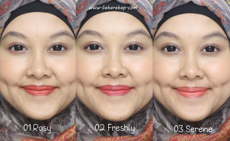 sariayu lip and cheek swatches