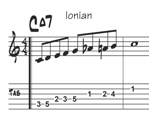 C Ionian Bebop scale with tabs