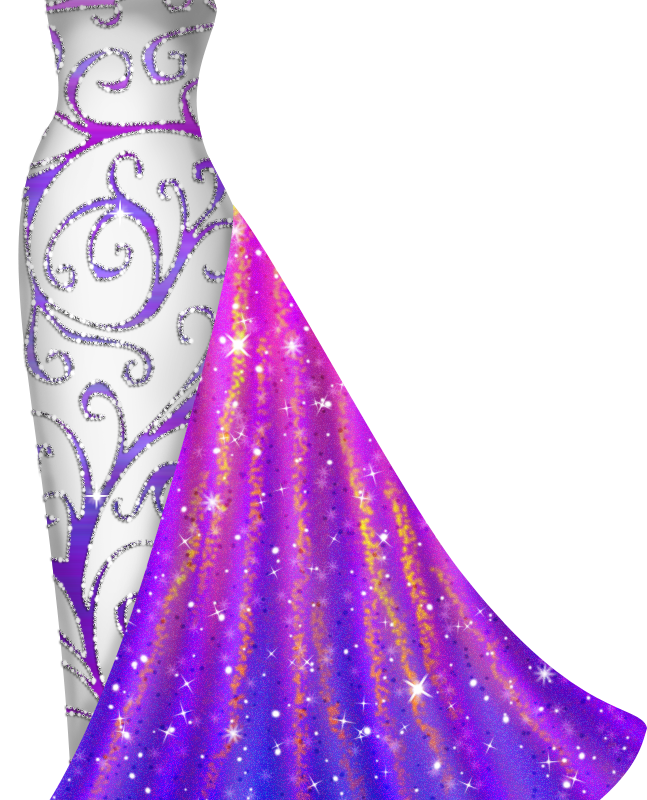 White And Purple Gown Lianas Paper Dolls