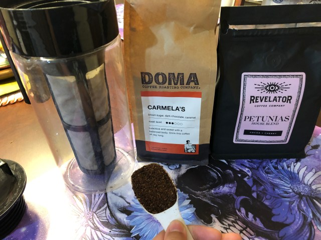 Revelator Petunias and DOMA Carmela's in Takeya's Cold Brew maker